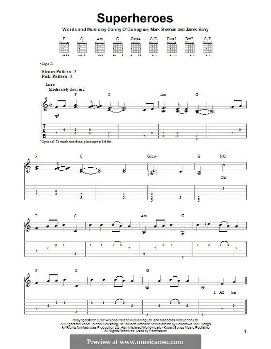 Superheroes (The Script): For guitar with tab by Danny O'Donoghue, Mark Sheehan, James Barry