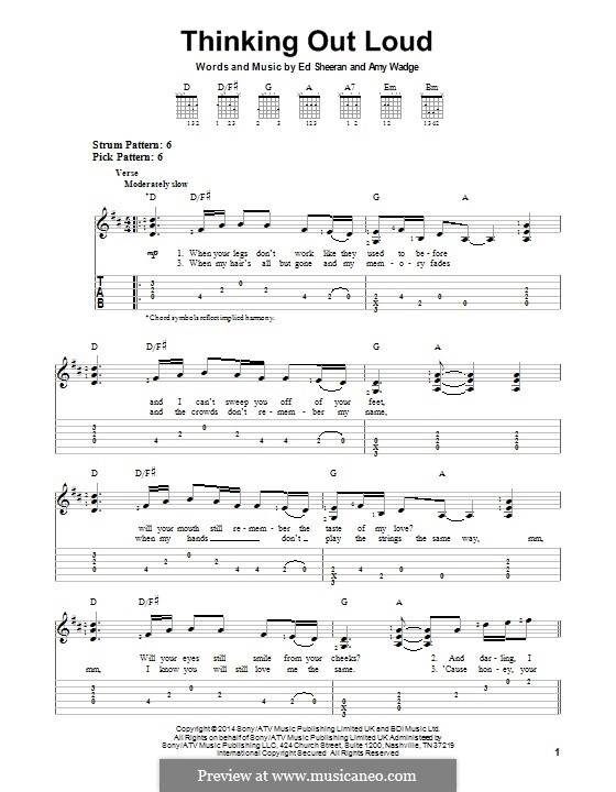 Thinking Out Loud: For guitar with tab by Ed Sheeran, Amy Wadge