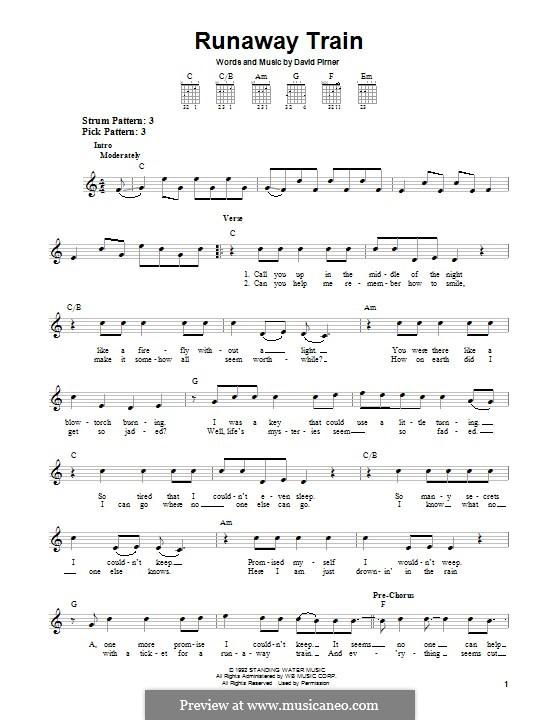 Runaway Train (Soul Asylum) by D. Pirner - sheet music on MusicaNeo