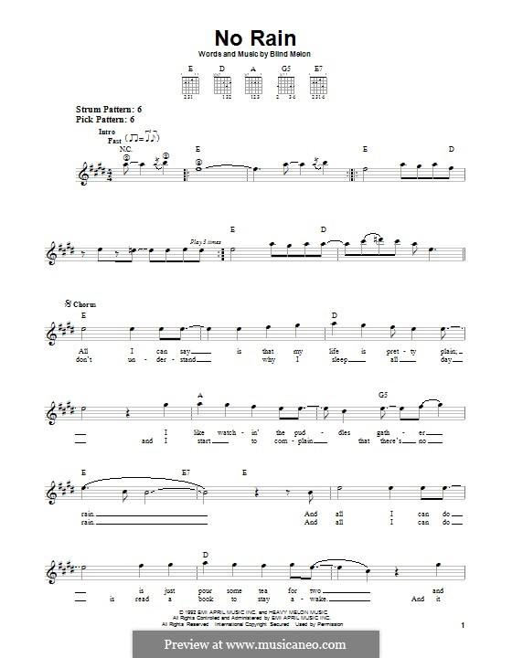 No Rain (Blind Melon): For easy guitar by Brad Smith, Christopher Thorn, Glen Graham, Roger Stevens, Shannon Hoon