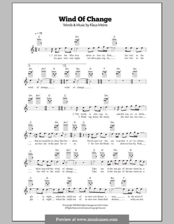 Wind of Change (Scorpions): For ukulele by Klaus Meine
