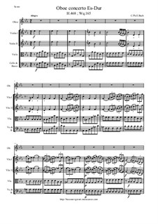 Concerto for Oboe and Strings in E Flar Major, H 468 Wq 165: Score and all parts by Carl Philipp Emanuel Bach