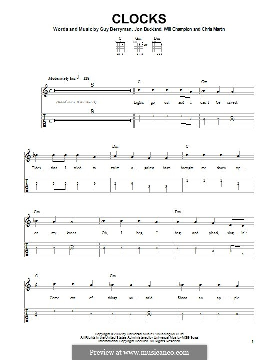 Clocks (Coldplay): For easy guitar with tab by Chris Martin, Guy Berryman, Jonny Buckland, Will Champion