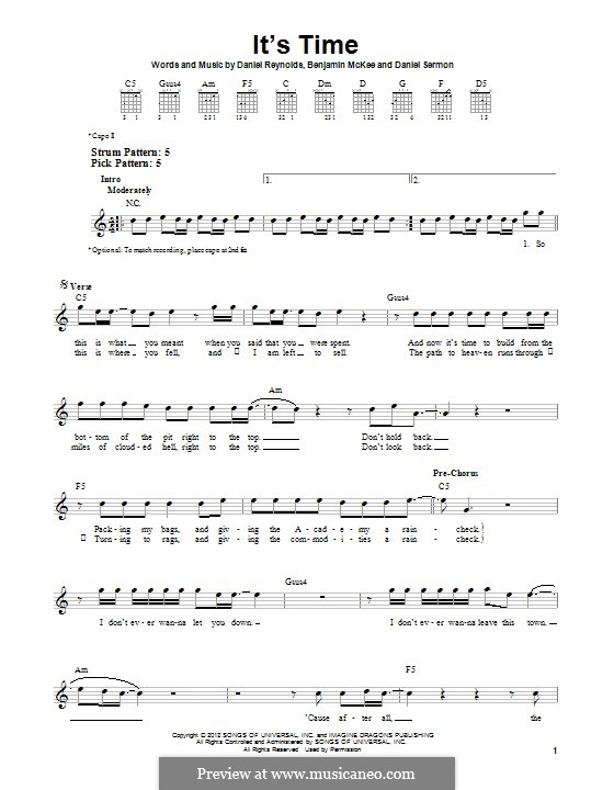 It's Time (Imagine Dragons): For guitar with tab by Benjamin McKee, Daniel Reynolds, Daniel Sermon