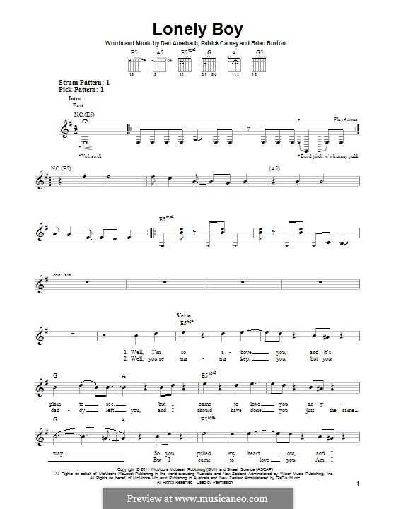 Lonely Boy (The Black Keys): For guitar with tab by Brian Burton, Daniel Auerbach, Patrick Carney
