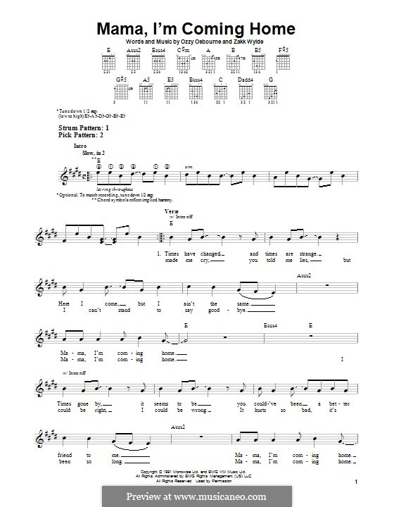 Mama, I'm Coming Home (Ozzy Osbourne): For guitar with tab by Zakk Wylde