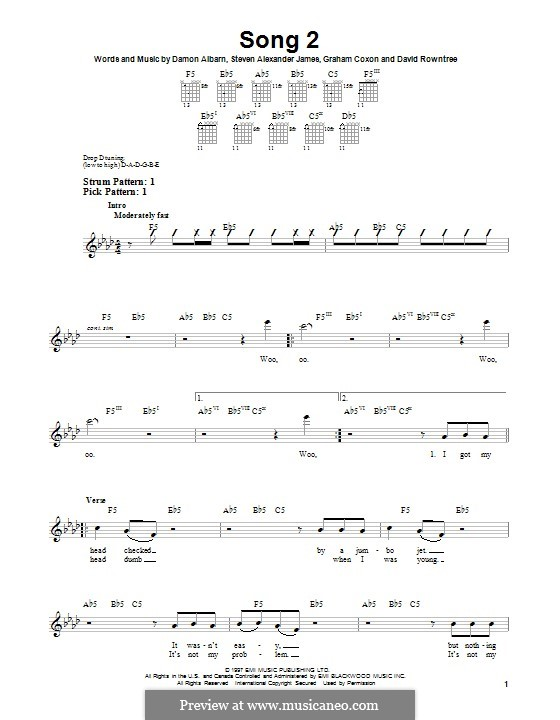 Song 2 (Blur): For guitar with tab by Alex James, Damon Albarn, David Rowntree, Graham Coxon