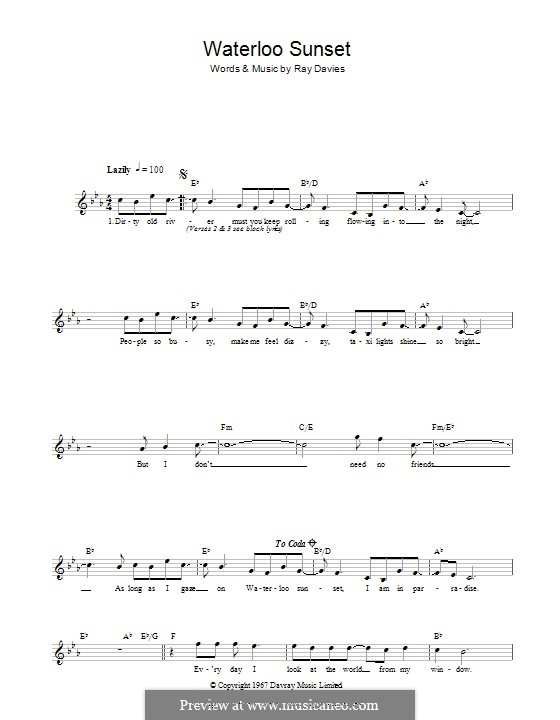 Waterloo Sunset By R Davies Sheet Music On Musicaneo