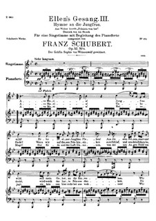 Ave Maria (Piano-vocal score), D.839 Op.52 No.6: For voice and piano in B Flat Major (German Text) by Franz Schubert