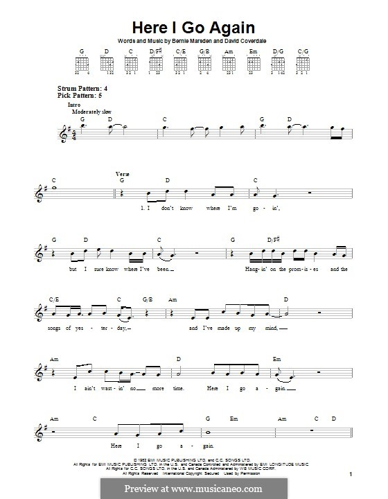 Here I Go Again (Whitesnake): For guitar with tab by Bernie Marsden, David Coverdale