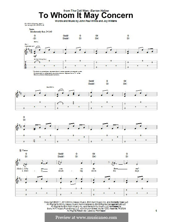 To Whom It May Concern (The Civil Wars): For guitar with tab by John Paul White, Joy Williams