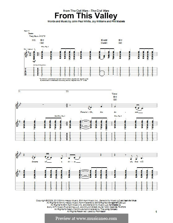 From This Valley (The Civil Wars): For guitar with tab by John Paul White, Joy Williams, Phil Madeira