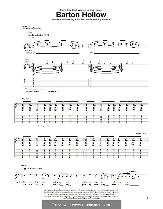 Barton Hollow (The Civil Wars): For guitar with tab by John Paul White, Joy Williams