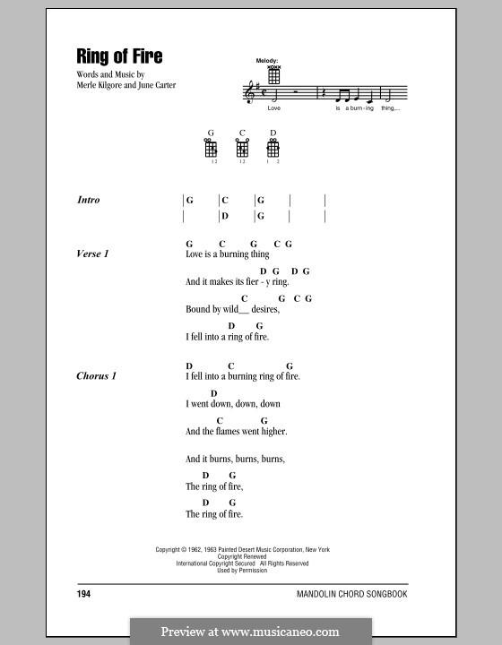 Ring of Fire: For mandolin by June Carter, Merle Kilgore