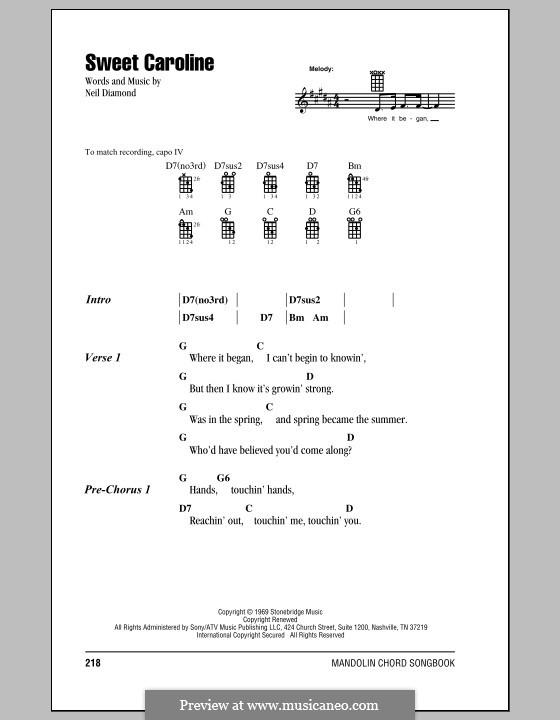 Sweet Caroline: For mandolin by Neil Diamond