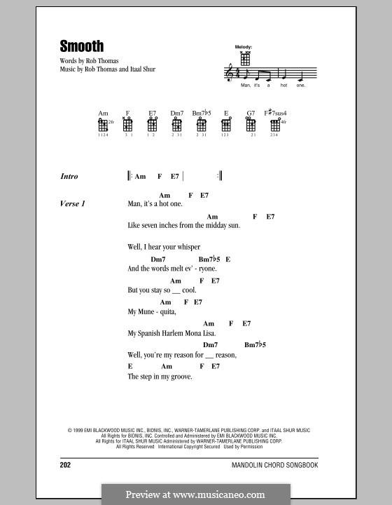 Smooth (Santana featuring Rob Thomas): For mandolin by Itaal Shur, Rob Thomas