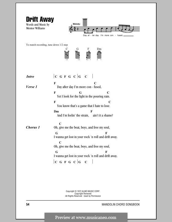 Drift Away (Dobie Gray) by M. Williams - sheet music on MusicaNeo