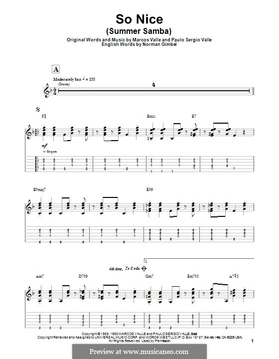 So Nice (Summer Samba): For guitar with tab by Marcos Valle, Paulo Sergio Valle