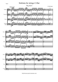 Six Symphonies, Wq 182: Symphony No.3 in C Major - score and parts, H 659 by Carl Philipp Emanuel Bach