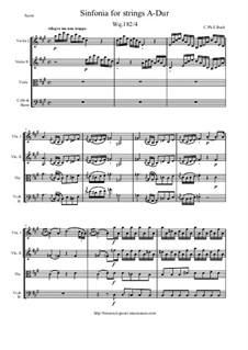 Six Symphonies, Wq 182: Symphony No.4 in A Major - score and parts, H 660 by Carl Philipp Emanuel Bach