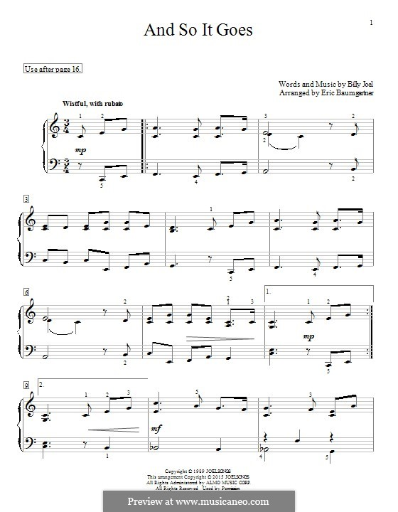 And So It Goes: For piano by Billy Joel
