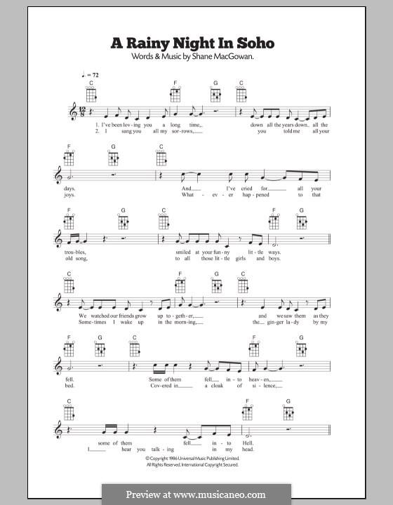 A Rainy Night in Soho (The Pogues): For ukulele by Shane MacGowan