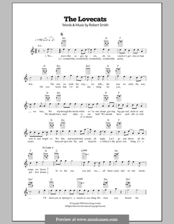 The Lovecats (The Cure): For ukulele by Robert Gary Smith