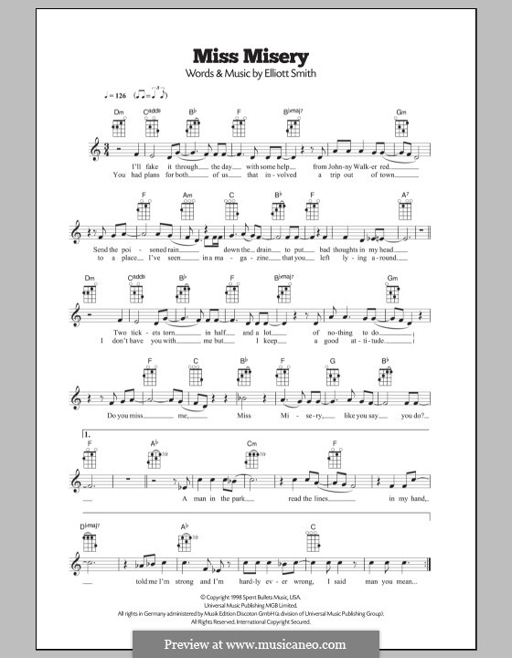 Miss Misery By E Smith Sheet Music On Musicaneo