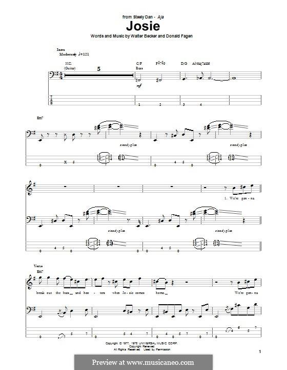 Josie (Steely Dan): For bass guitar with tab by Donald Fagen, Walter Becker