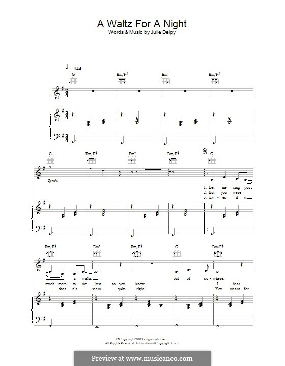 A Waltz for a Night: For voice and piano (or guitar) by Julie Delpy
