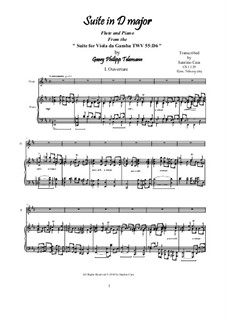 Suite in D Major, for piano, TWV 55:D6: For flute and piano, CS1.129 by Georg Philipp Telemann
