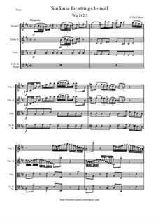 Six Symphonies, Wq 182: Symphony No.5 in B Minor - score and parts, H 661 by Carl Philipp Emanuel Bach