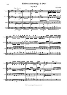Six Symphonies, Wq 182: Symphony No.6 in E Major - score and parts, H 662 by Carl Philipp Emanuel Bach