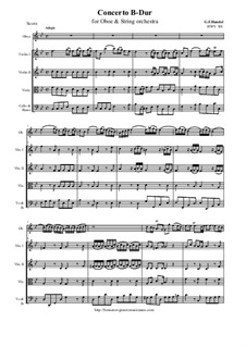 Oboe concerto B-Dur, HWV 301: Score and all parts by Georg Friedrich Händel