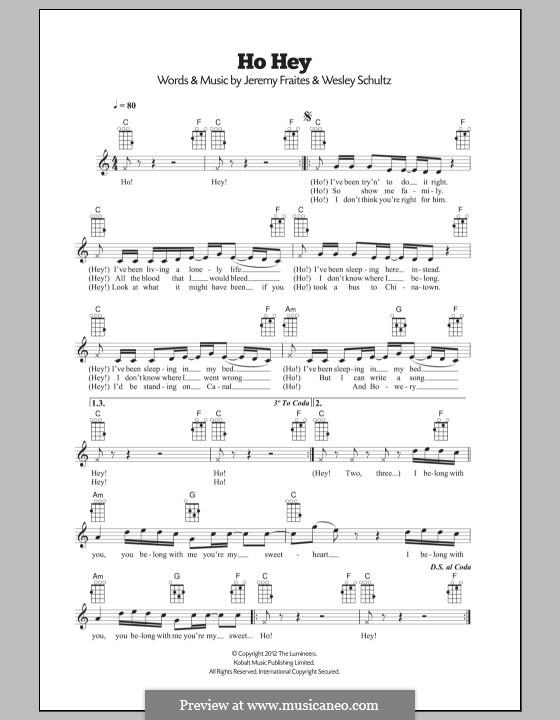 Ho Hey (The Lumineers): For ukulele by Jeremy Fraites, Wesley Schultz