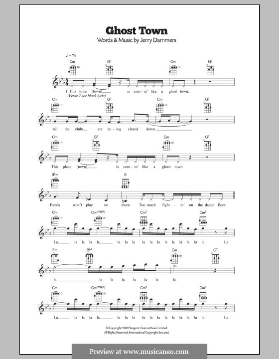 Ghost Town (The Specials) by J. Dammers - sheet music on MusicaNeo