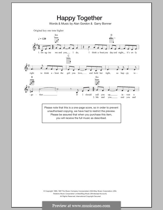 Happy Together (The Turtles): For ukulele by Alan Gordon, Garry Bonner