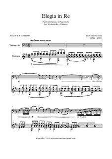 Elegy for Double Bass in D Major: For cello and guitar by Giovanni Bottesini