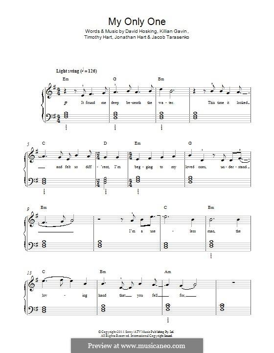My Only One (Boy and Bear): For piano by David Hosking, Jonathan Hart, Killian Gavin, Timothy Hart, Jacob Tarasenko