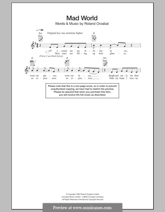 Mad World (Gary Jules & Michael Andrews): For ukulele by Roland Orzabal