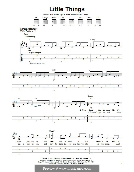 Little Things (One Direction): For guitar with tab by Ed Sheeran, Fiona Bevan