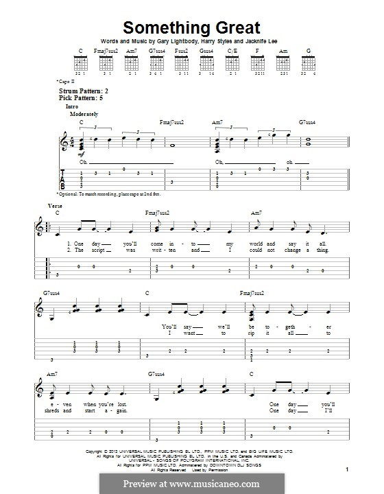 Something Great (One Direction): For guitar with tab by Gary Lightbody, Jacknife Lee, Harry Styles