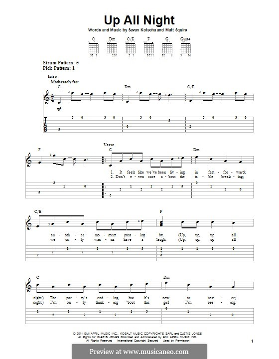 Up All Night (One Direction): For guitar with tab by Matthew Squire, Savan Kotecha