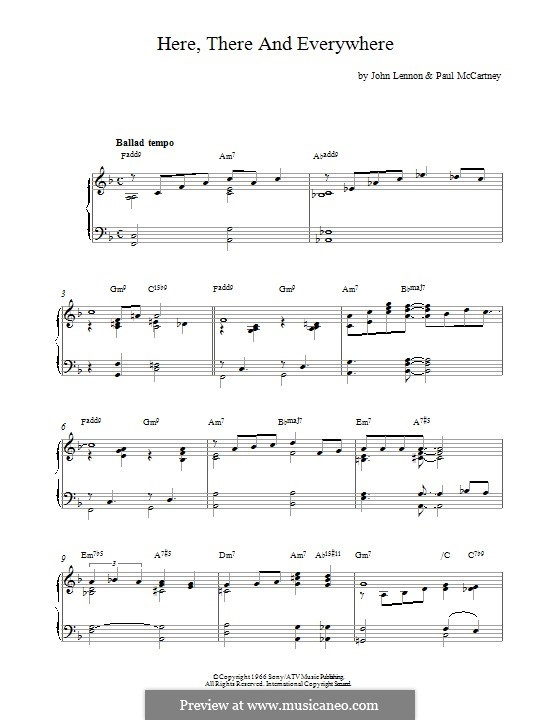 Here, There and Everywhere (The Beatles): For piano by John Lennon, Paul McCartney