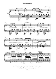 Blumenlied (Flower Song), Op.39: For piano by Gustav Lange