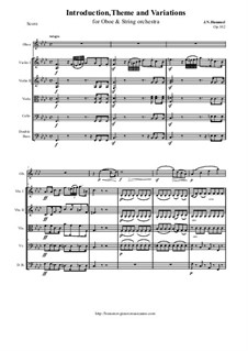 Introduction, Theme and Variations for Oboe and String oschestra, Op.102: Score and all parts by Johann Nepomuk Hummel