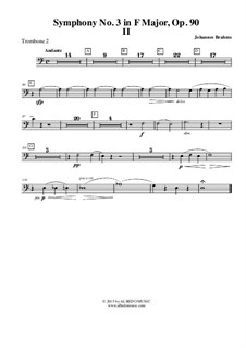 Movement II: Trombone in Bass Clef 2 (Transposed Part) by Johannes Brahms