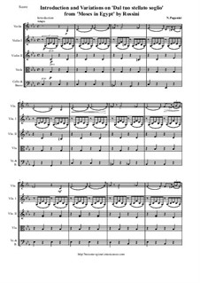 Introduction and Variations on 'Dal tuo stellato soglio' from 'Moses in Egypt' by Rossini: Score and all parts by Niccolò Paganini
