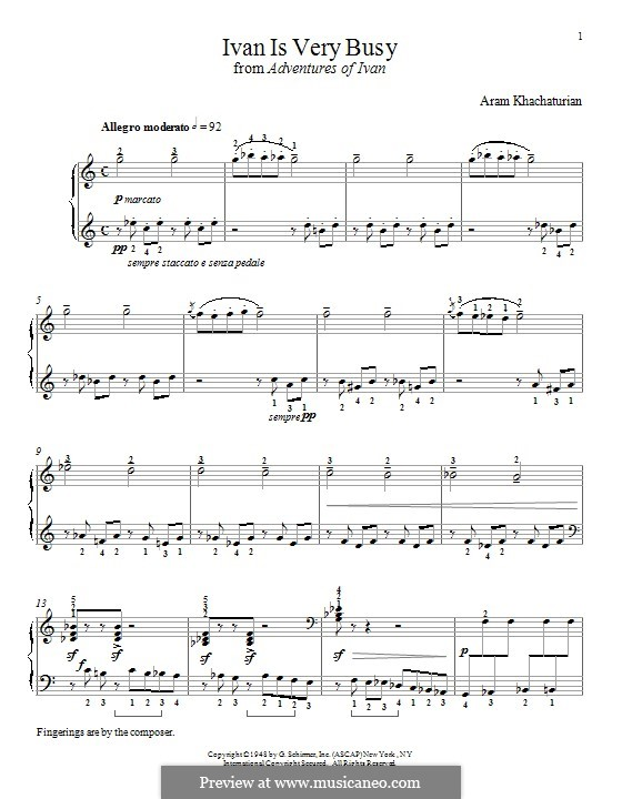 Ivan Is Very Busy: For piano by Aram Khachaturian