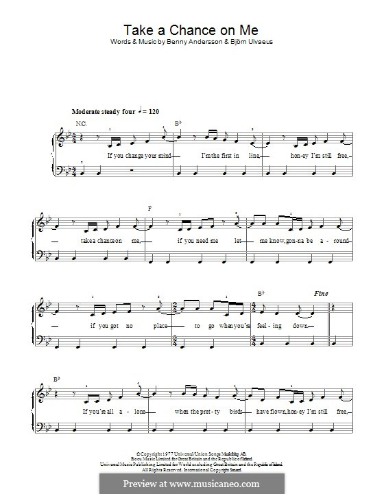 Take a Chance on Me (ABBA): For piano by Benny Andersson, Björn Ulvaeus
